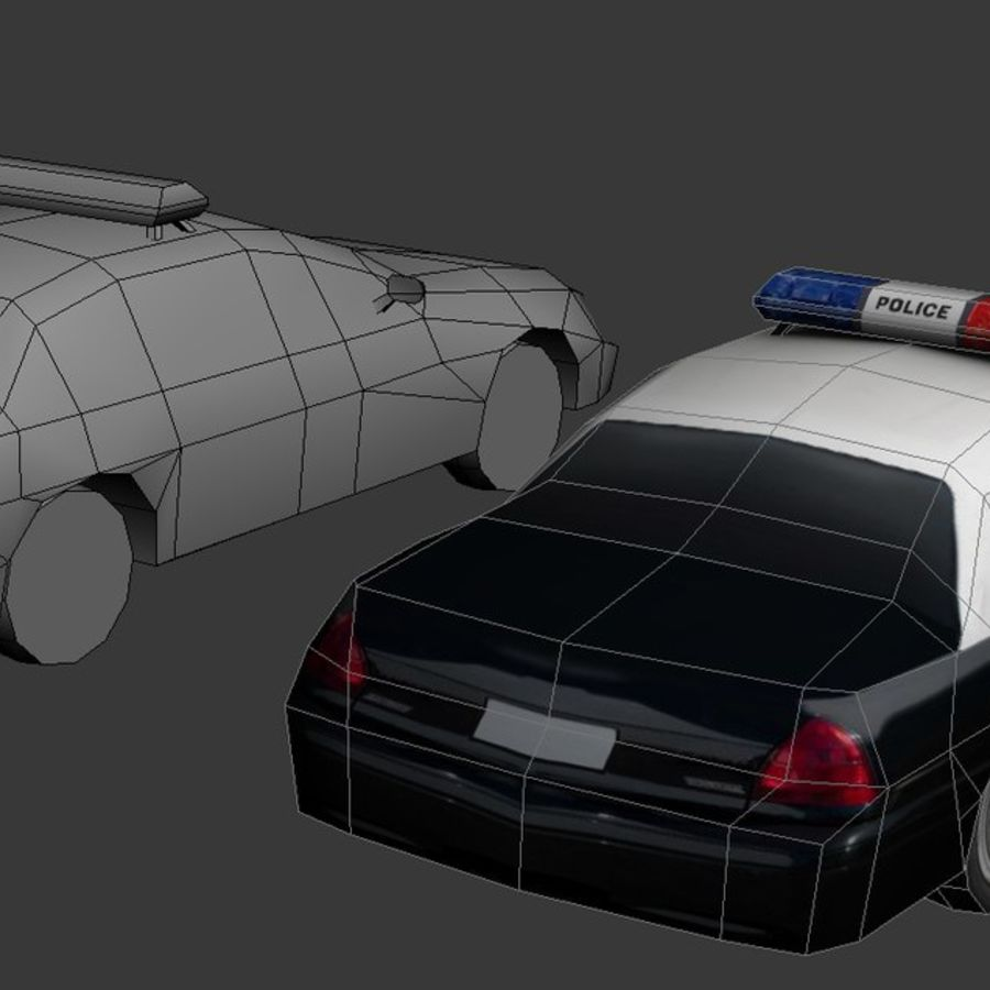 Low Poly Polizeiauto royalty-free 3d model - Preview no. 3