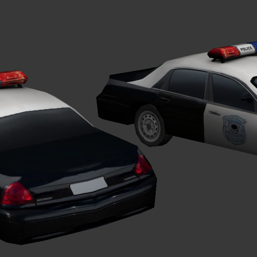 Low Poly Polizeiauto royalty-free 3d model - Preview no. 4