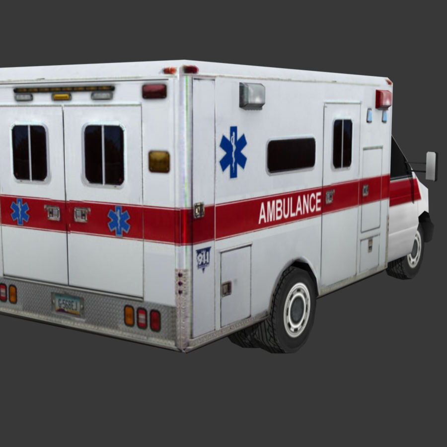 Low Poly Ambulance royalty-free 3d model - Preview no. 3