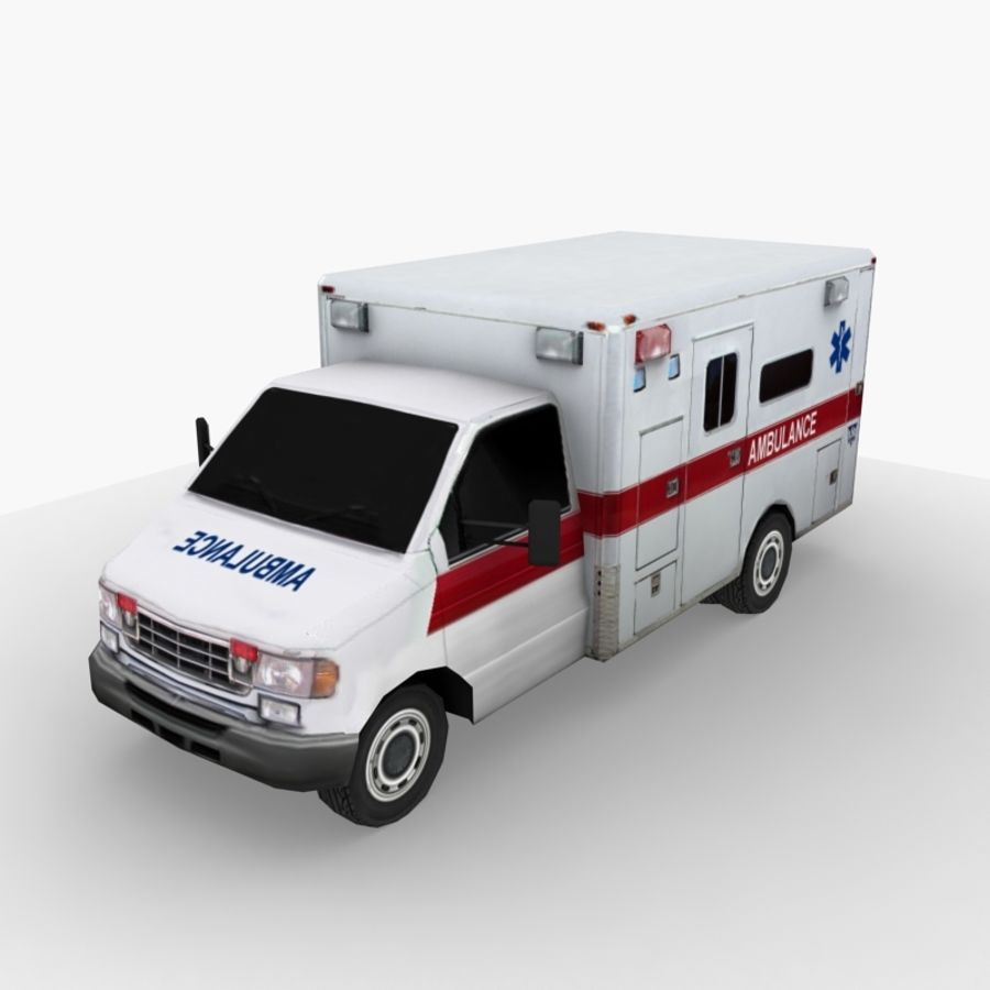 Low Poly Ambulance royalty-free 3d model - Preview no. 1
