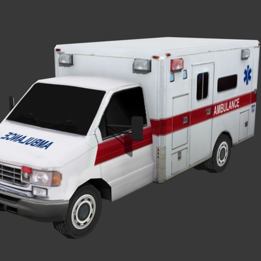 Low Poly Ambulance royalty-free 3d model - Preview no. 2