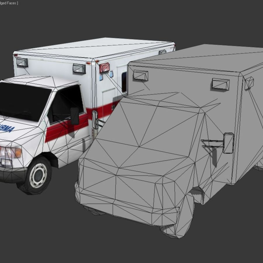 Low Poly Ambulance royalty-free 3d model - Preview no. 4