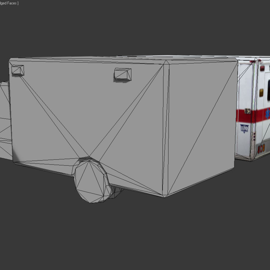 Low Poly Ambulance royalty-free 3d model - Preview no. 5