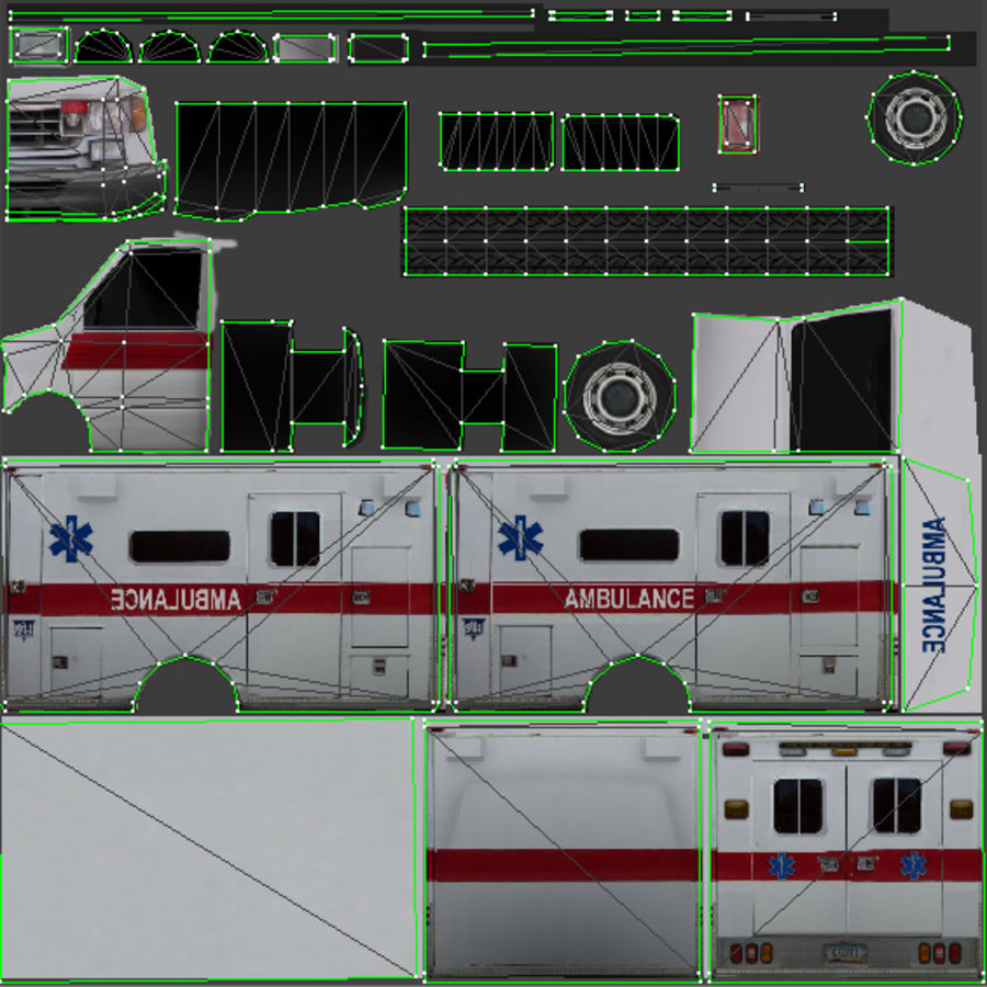 Low Poly Ambulance royalty-free 3d model - Preview no. 6