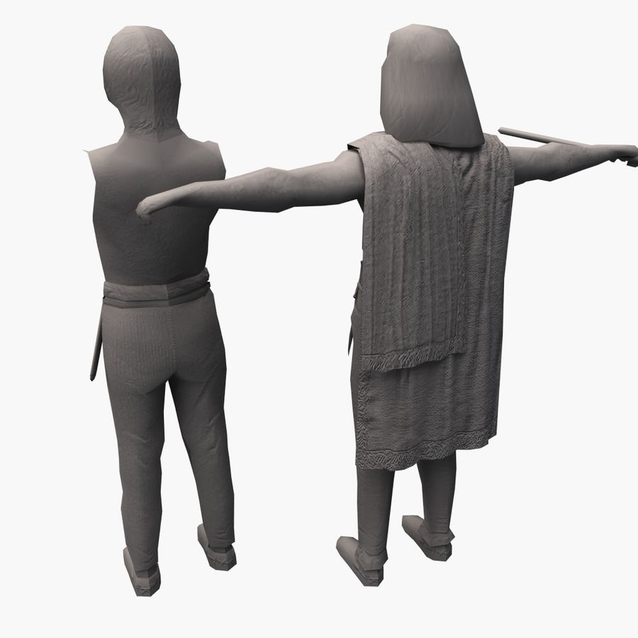 Low Poly Ancient Spearman royalty-free 3d model - Preview no. 12