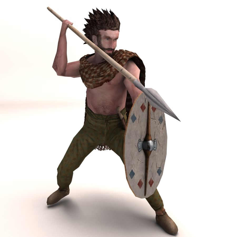Low Poly Ancient Spearman royalty-free 3d model - Preview no. 4