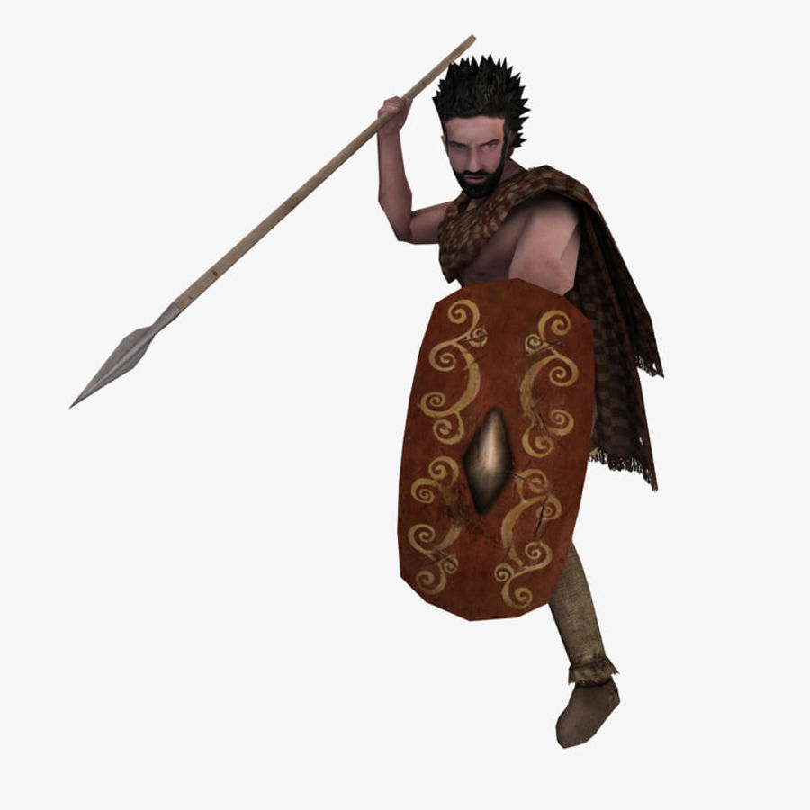 Low Poly Ancient Spearman royalty-free 3d model - Preview no. 1