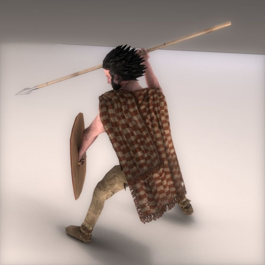 Low Poly Ancient Spearman royalty-free 3d model - Preview no. 3