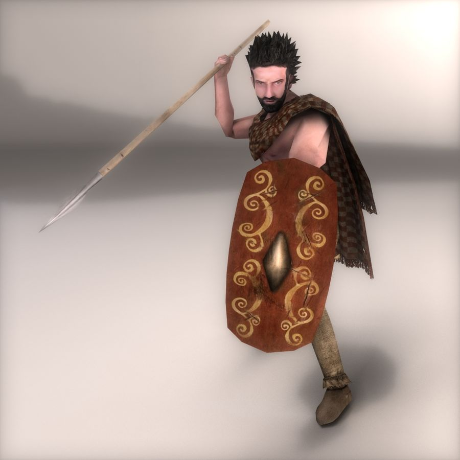 Low Poly Ancient Spearman royalty-free 3d model - Preview no. 2