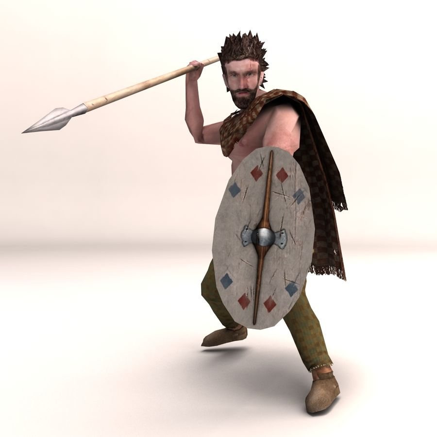 Low Poly Ancient Spearman royalty-free 3d model - Preview no. 5