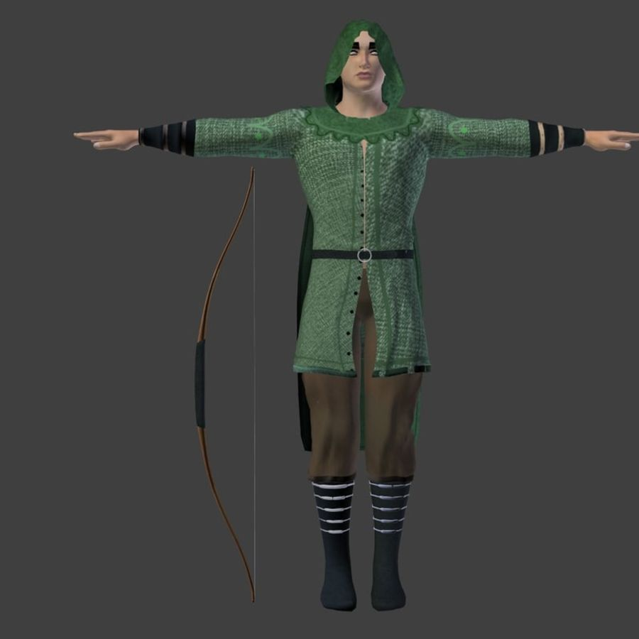 Robin Hood royalty-free 3d model - Preview no. 10
