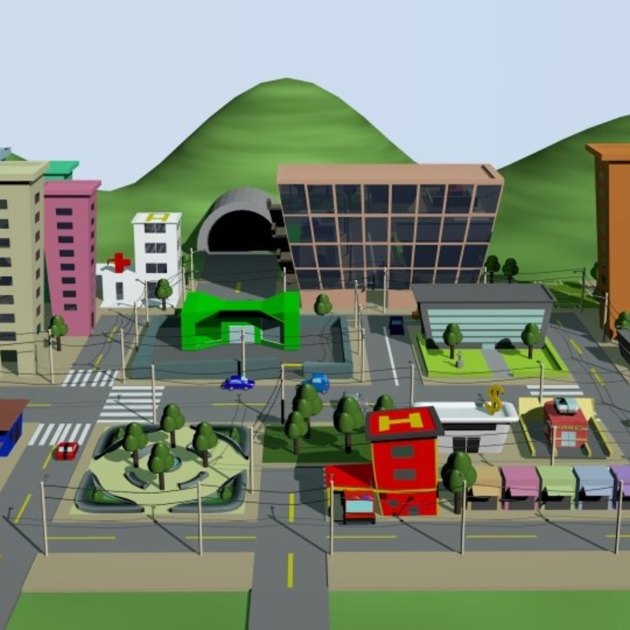 Cartoon City royalty-free 3d model - Preview no. 2