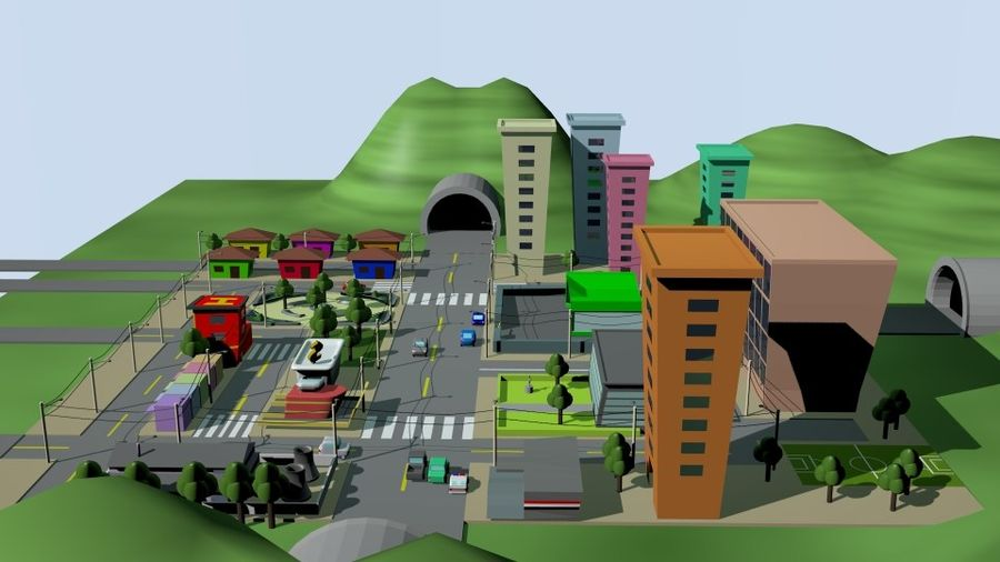 Cartoon City royalty-free 3d model - Preview no. 4