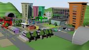 만화 도시 3d model