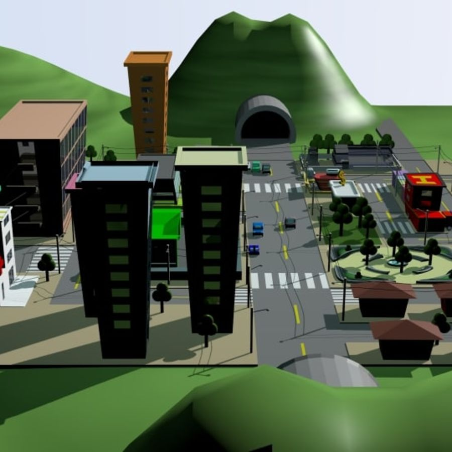 Cartoon City royalty-free 3d model - Preview no. 3