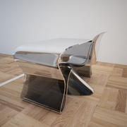 Стеклянный стол и стул 3d model