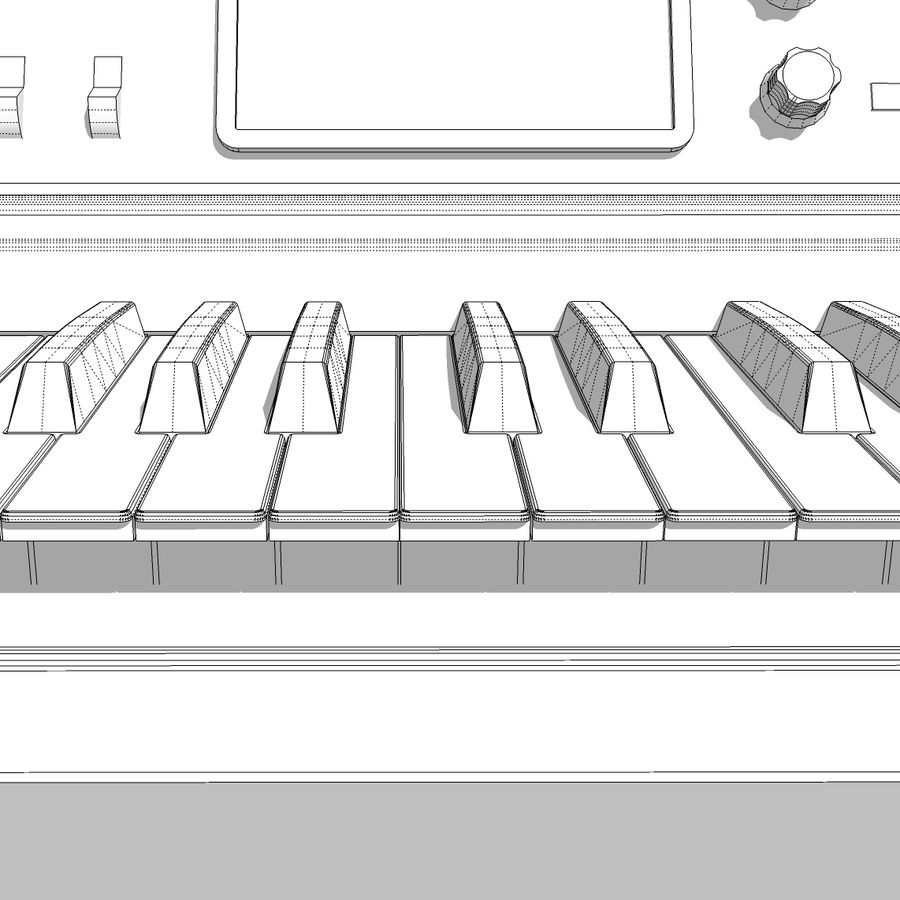 Keyboard / Synthesizer: Moog Voyager royalty-free 3d model - Preview no. 29
