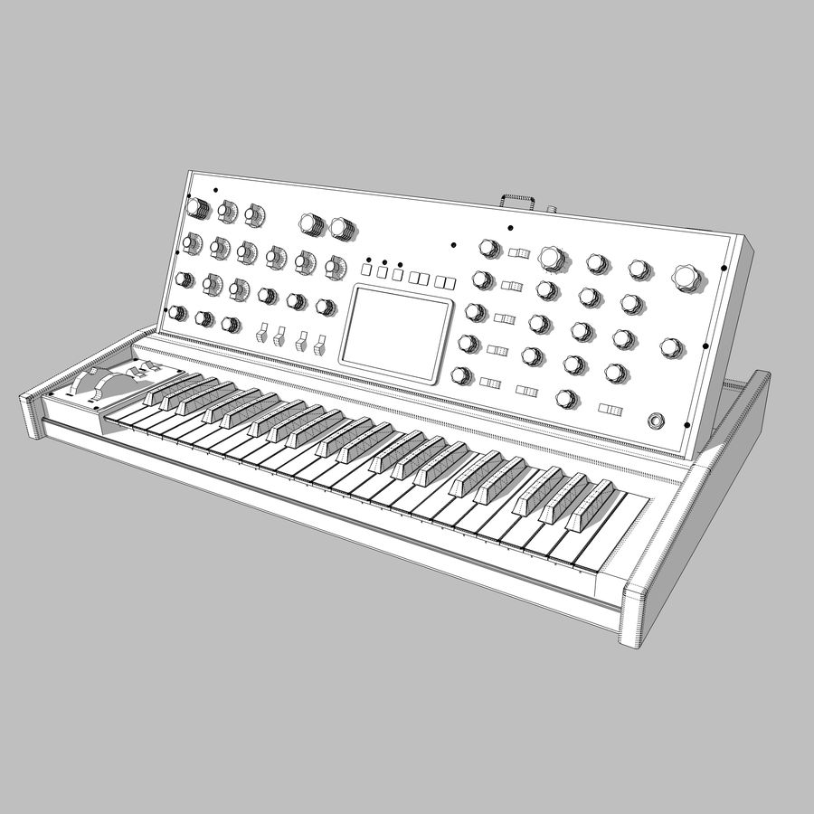 Keyboard / Synthesizer: Moog Voyager royalty-free 3d model - Preview no. 13