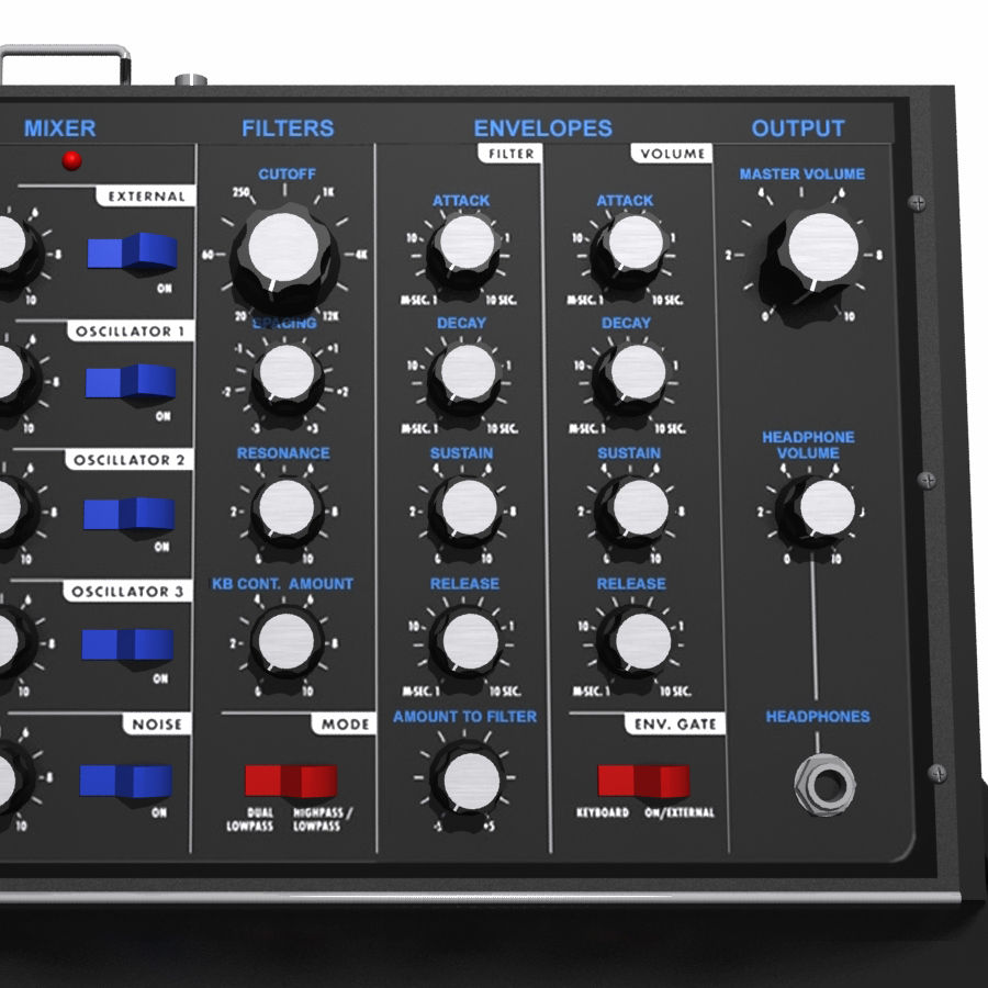 Keyboard / Synthesizer: Moog Voyager royalty-free 3d model - Preview no. 3