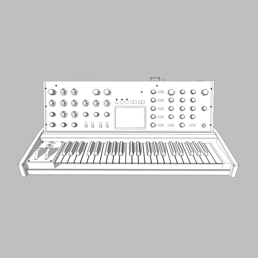 Keyboard / Synthesizer: Moog Voyager royalty-free 3d model - Preview no. 18