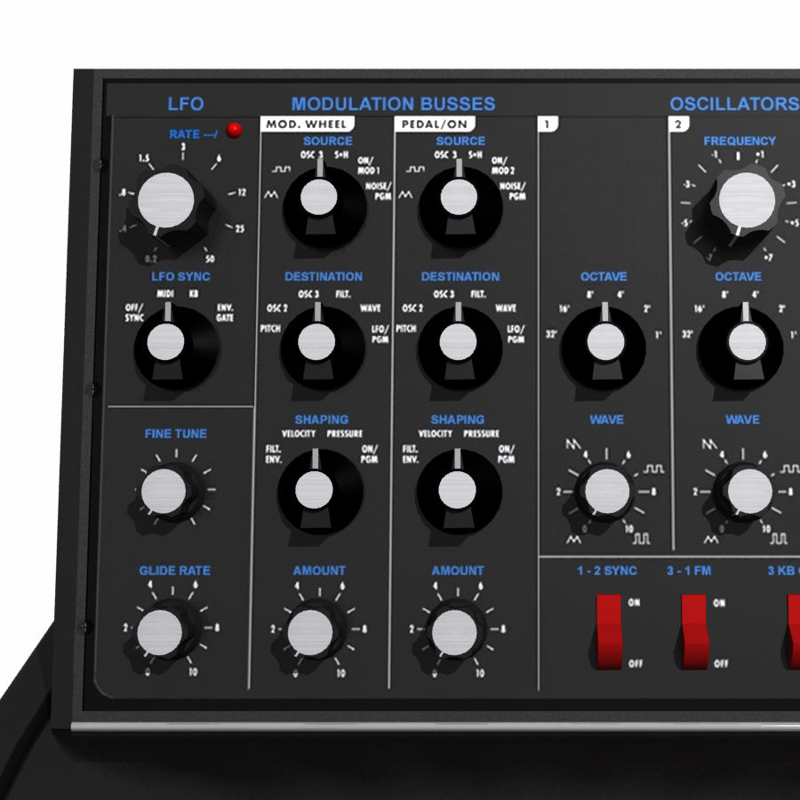 Keyboard / Synthesizer: Moog Voyager royalty-free 3d model - Preview no. 2