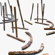 Collection de tiges en métal texturées 3d model