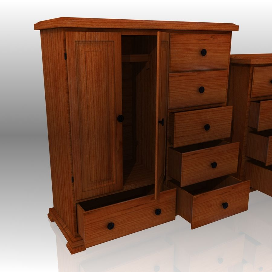 Bedroom Furniture Set royalty-free 3d model - Preview no. 5