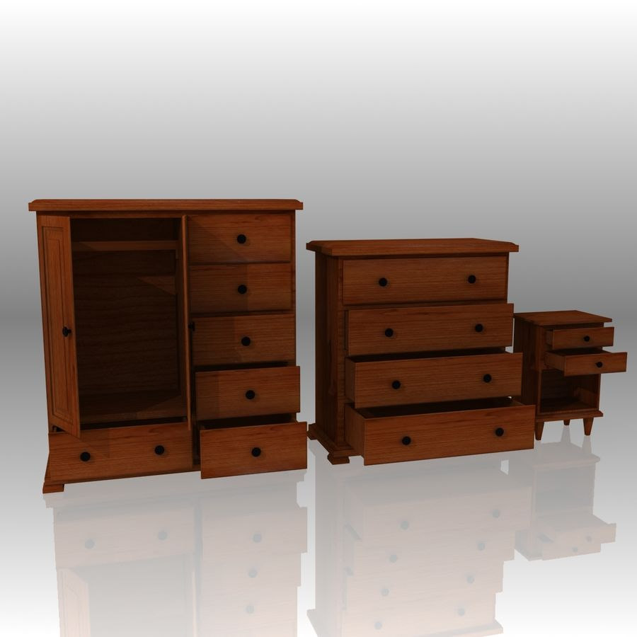 Bedroom Furniture Set royalty-free 3d model - Preview no. 3