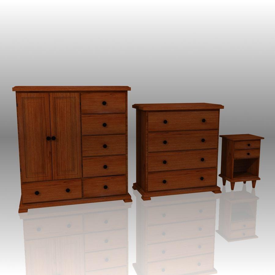 Bedroom Furniture Set royalty-free 3d model - Preview no. 2