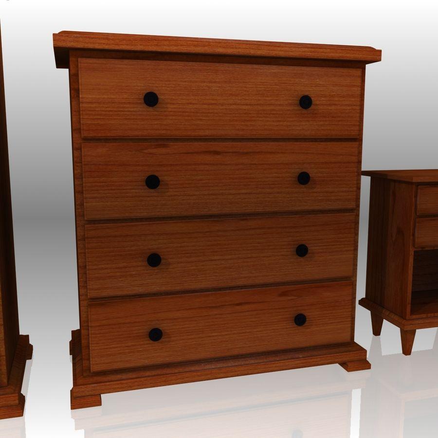 Bedroom Furniture Set royalty-free 3d model - Preview no. 10