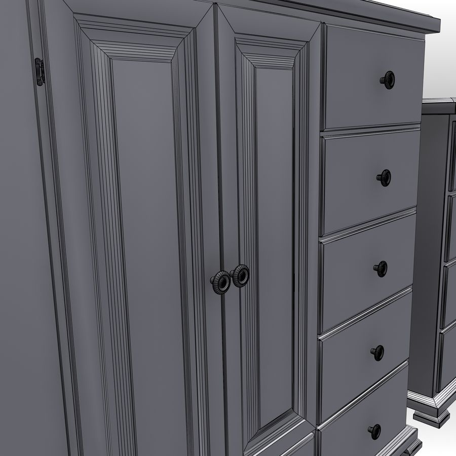 Bedroom Furniture Set royalty-free 3d model - Preview no. 15