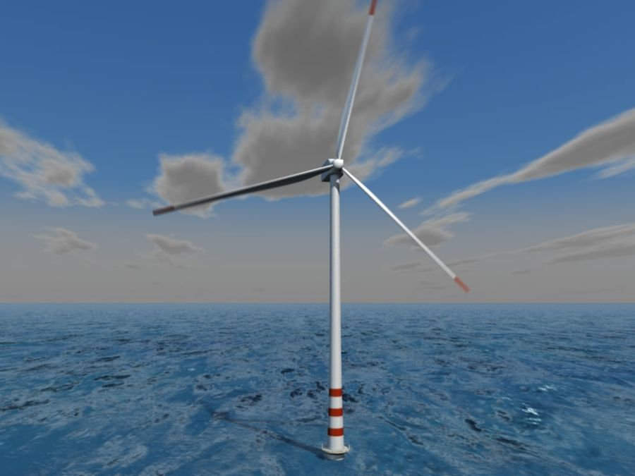 Wind power plant royalty-free 3d model - Preview no. 2