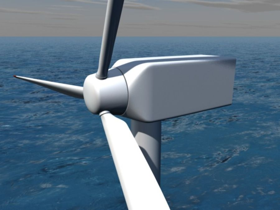 Wind power plant royalty-free 3d model - Preview no. 1