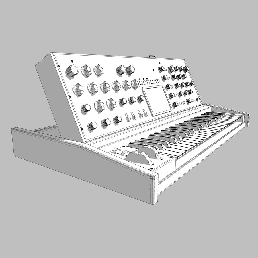 Keyboard / Synthesizer: Moog Voyager: Wood Finish royalty-free 3d model - Preview no. 18