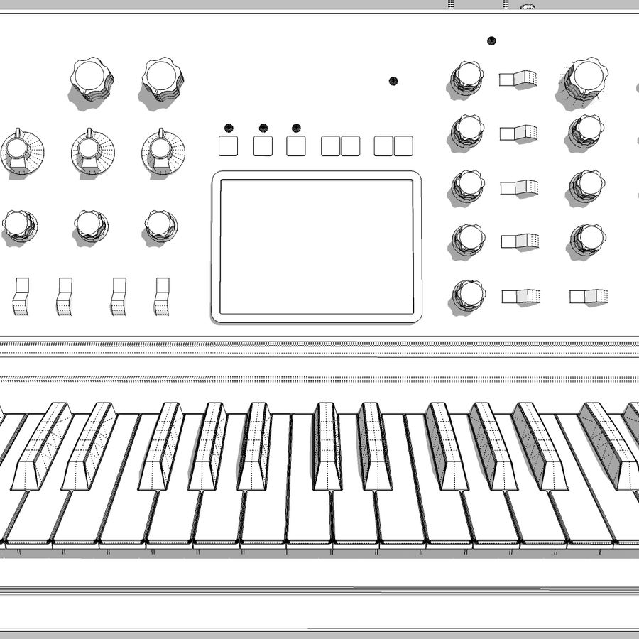 Keyboard / Synthesizer: Moog Voyager: Wood Finish royalty-free 3d model - Preview no. 22