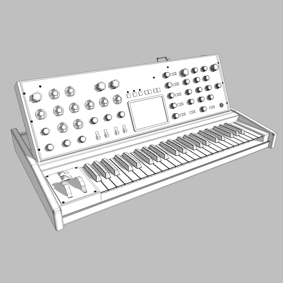 Keyboard / Synthesizer: Moog Voyager: Wood Finish royalty-free 3d model - Preview no. 13