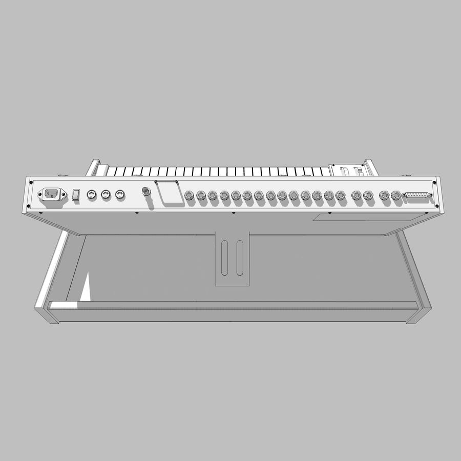 Keyboard / Synthesizer: Moog Voyager: Wood Finish royalty-free 3d model - Preview no. 21