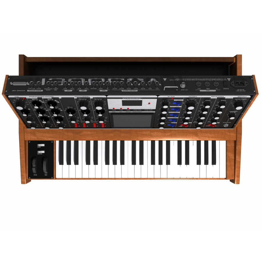 Keyboard / Synthesizer: Moog Voyager: Wood Finish royalty-free 3d model - Preview no. 6