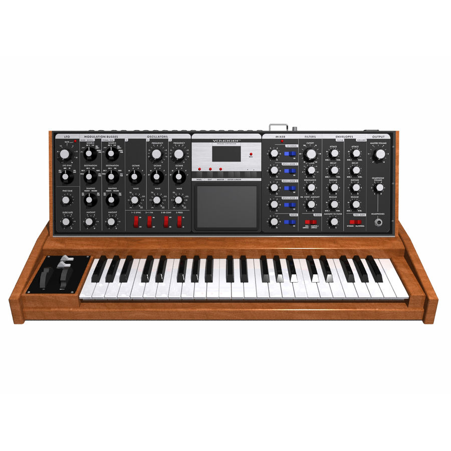 Keyboard / Synthesizer: Moog Voyager: Wood Finish royalty-free 3d model - Preview no. 2