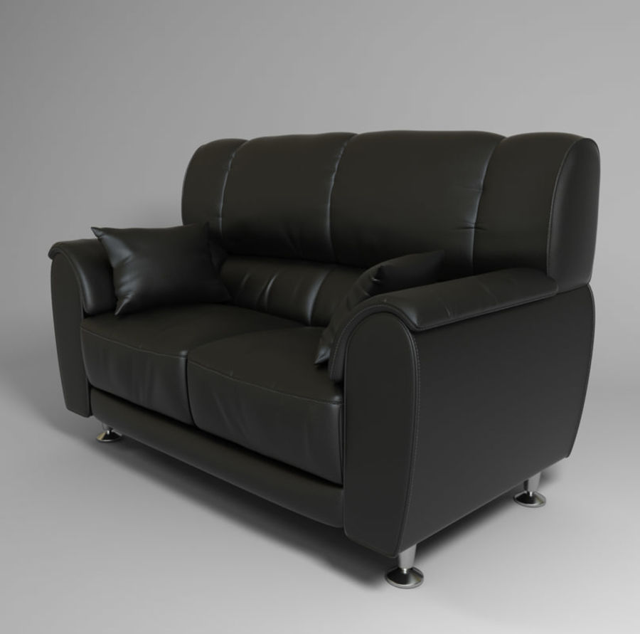 leather sofa royalty-free 3d model - Preview no. 4