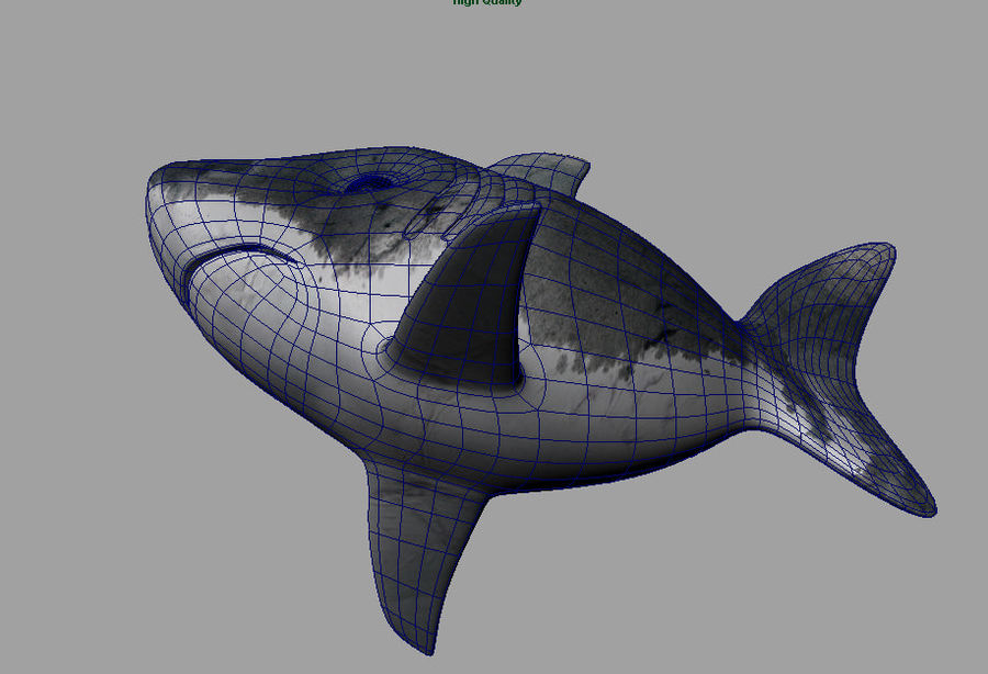 Cartoon Shark royalty-free 3d model - Preview no. 5