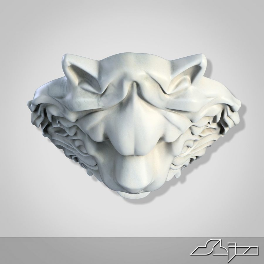 Lion Head Sculpture 2 royalty-free 3d model - Preview no. 7