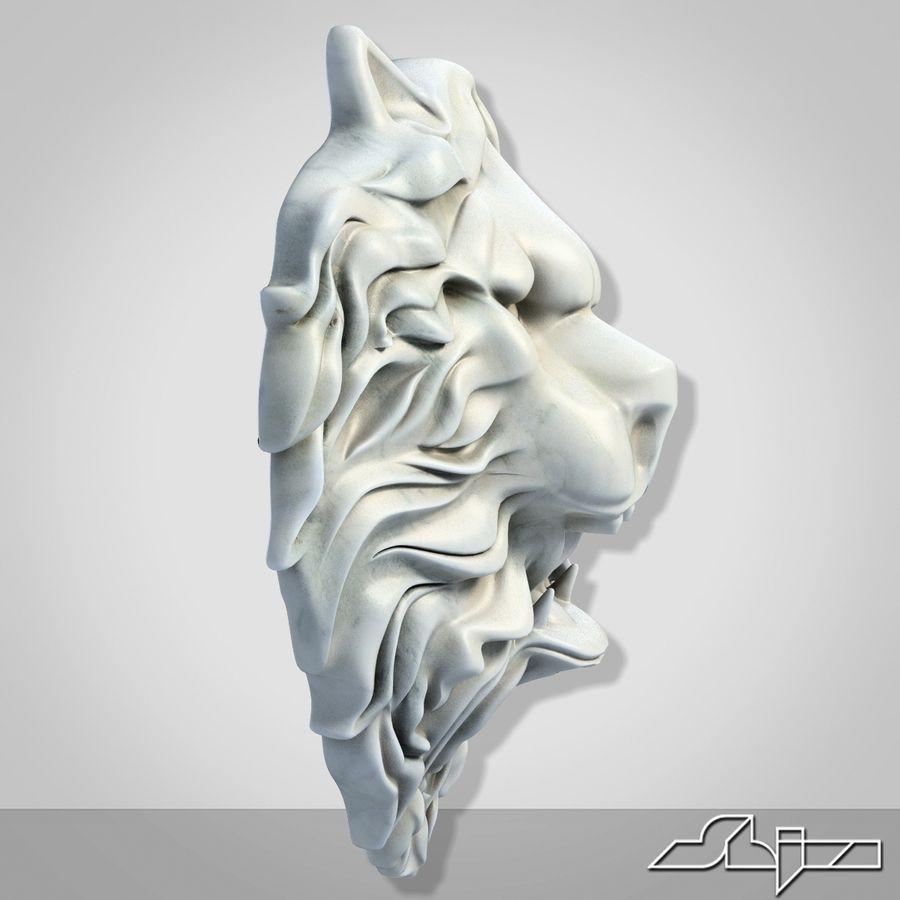 Lion Head Sculpture 2 royalty-free 3d model - Preview no. 4