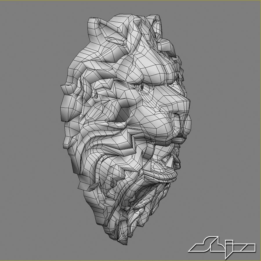 Lion Head Sculpture 2 royalty-free 3d model - Preview no. 10