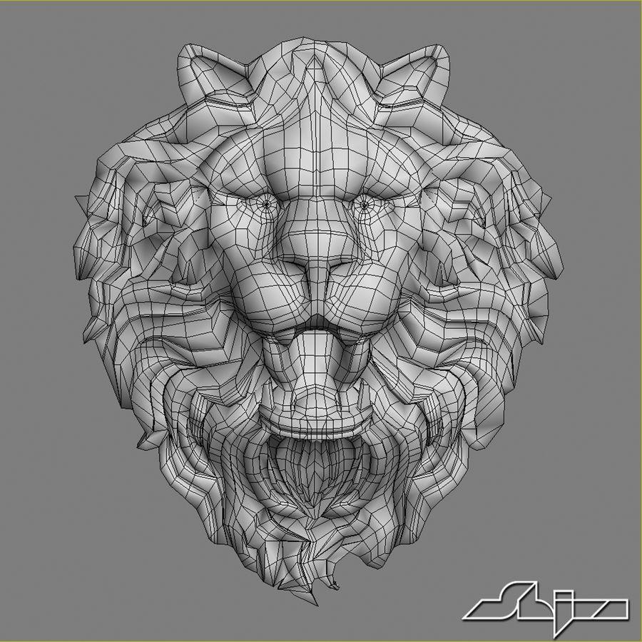 Lion Head Sculpture 2 royalty-free 3d model - Preview no. 9
