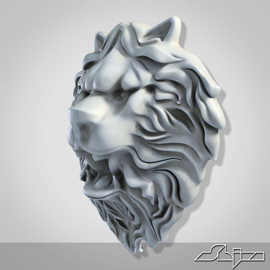 Lion Head Sculpture 2 royalty-free 3d model - Preview no. 5