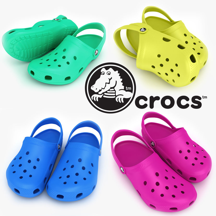 Crocs Shoes, Sandals, & Clogs in Pink, Green, Lime, Blue Collection royalty-free 3d model - Preview no. 1