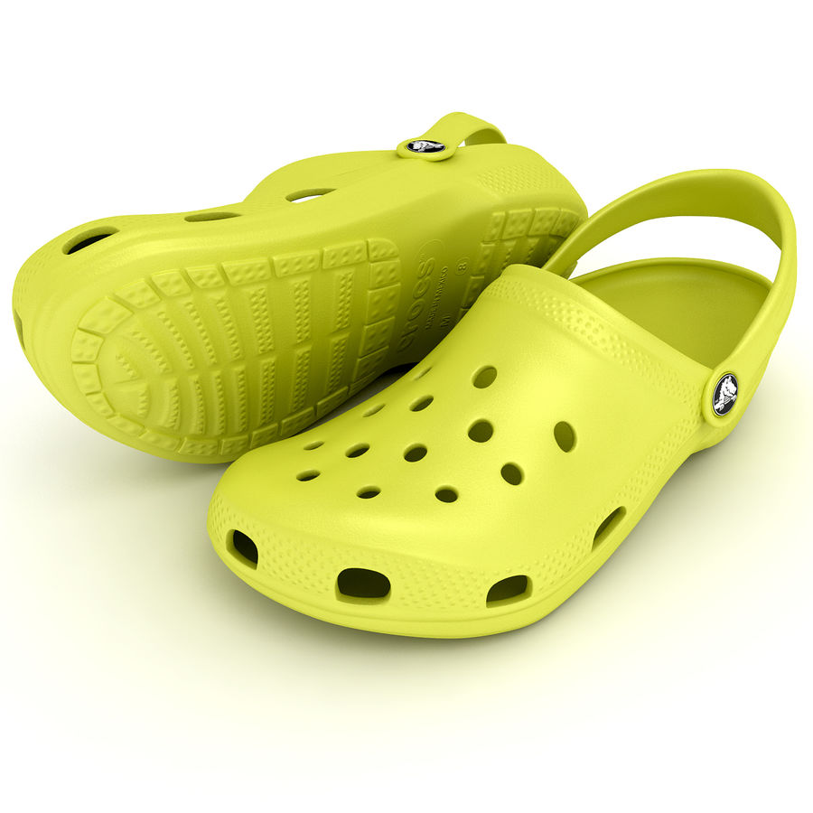 Crocs Shoes, Sandals, & Clogs in Lime color royalty-free 3d model - Preview no. 3