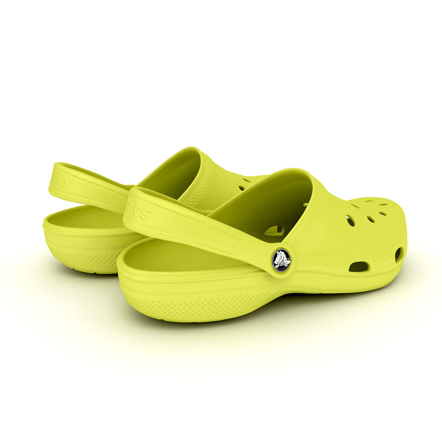 Crocs Shoes, Sandals, & Clogs in Lime color royalty-free 3d model - Preview no. 12