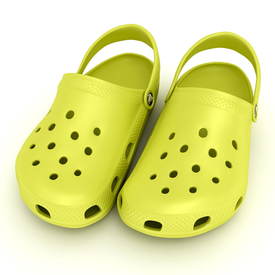 Crocs Shoes, Sandals, & Clogs in Lime color royalty-free 3d model - Preview no. 6